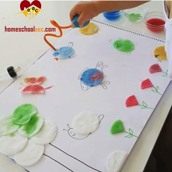 cotton pad art painting
