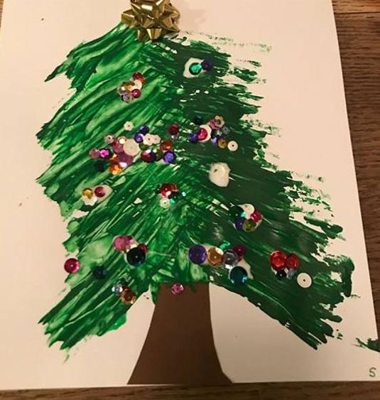 christmas fork painting art