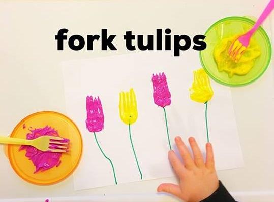 fork tulip panting idea