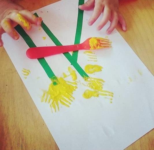 fork painting for baby