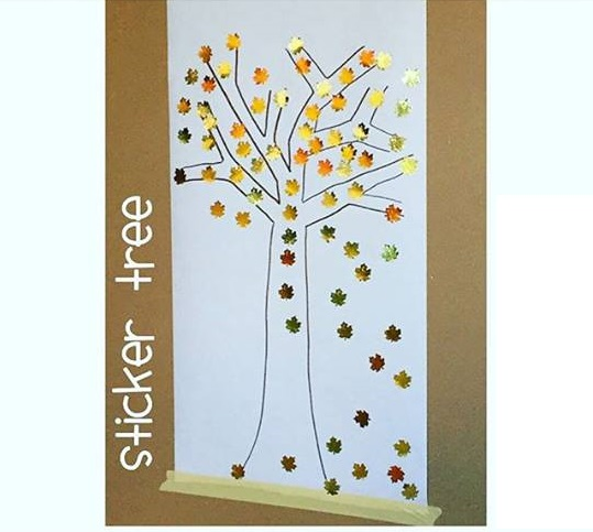 sticker tree craft for kids
