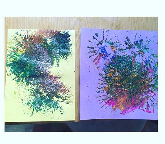 kids firework painting activity