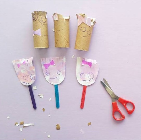 kids fine motor skills hair cutting activity with using paper rolls
