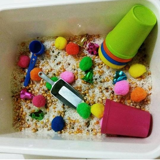 rice sensory play