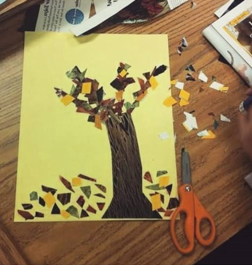 fall tree craft with papers