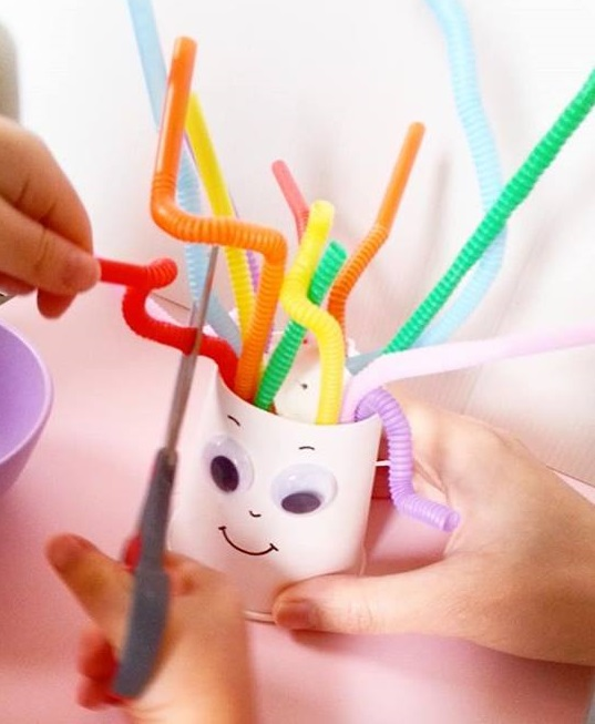 Straw fine motor skills for toddlers