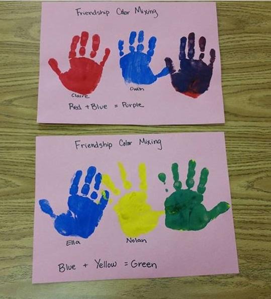 baby handprint paint