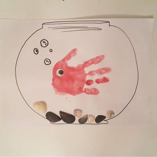 handprint art and aquarium craft