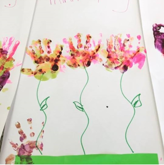 handprint flowers art activity