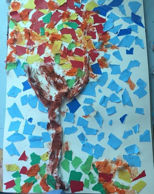 fall tree collage for kids