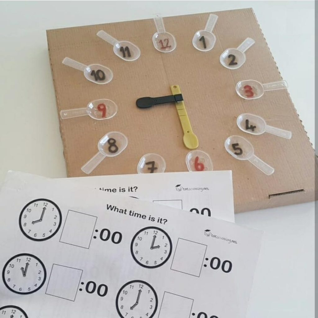 telling time activity with using spoon