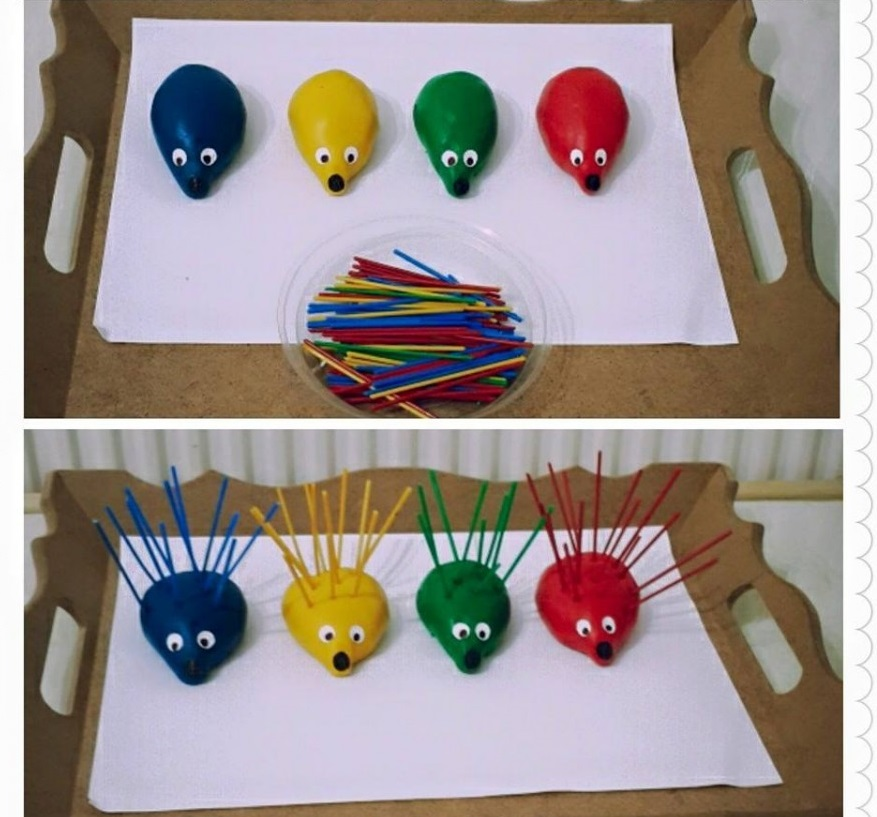 hedgehog color matching activity with play dough