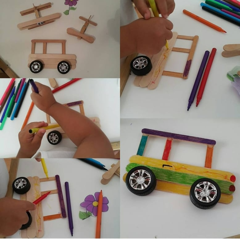wooden popsicle sticks car craft painting